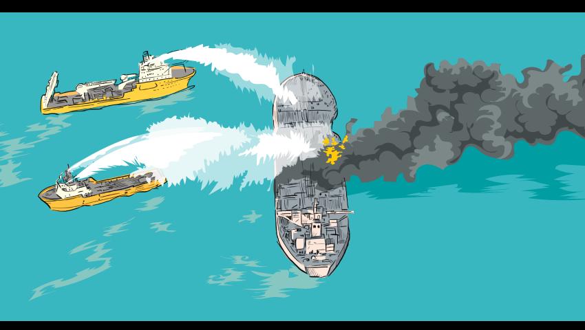 نفتکش سانچی در آتش